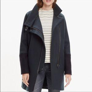 NWT Madewell city grid cocoon wool coat gray black color block  wool blend 6